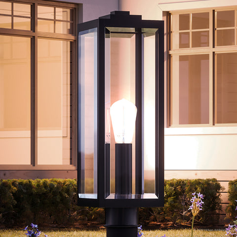 "UQL1333 Farmhouse Outdoor Post/Pier Light, 20.5""H x 7""W, Black Finish, Quincy Collection"