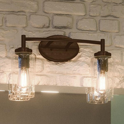 "UQL2271 Vintage Bathroom Vanity Light, 10""H x 16""W, Estate Bronze Finish, Liverpool Collection - Urban Ambiance"