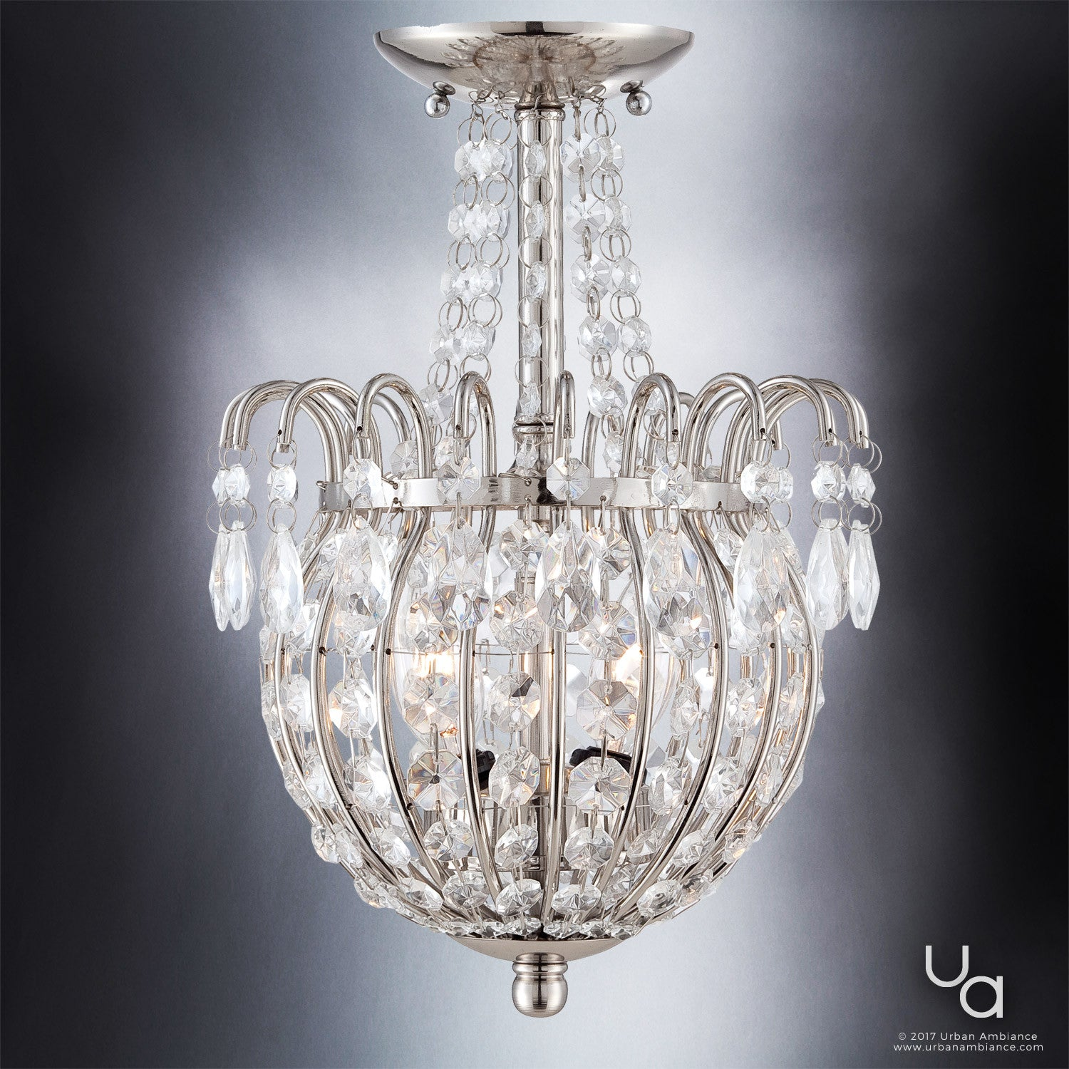 UQL2361 Crystal Semi Flush Ceiling Light 135H X 95W Polished Silver Charlotte Collection