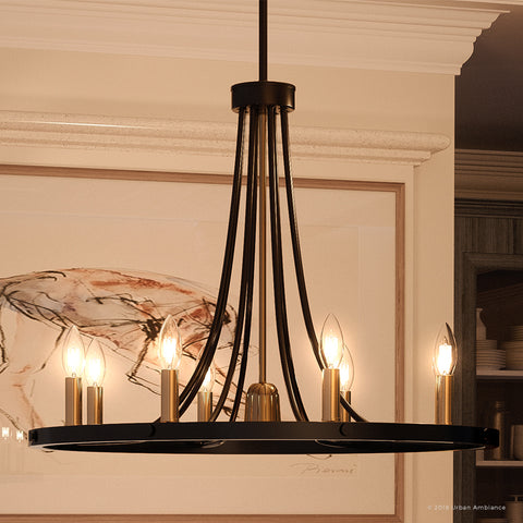"UQL2750 Transitional Chandelier, 21.75""H x 27""W, Black Burgundy Finish, Kirklees Collection"