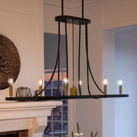 "UQL2751 Transitional Chandelier, 18.75""H x 42""W, Black Burgundy Finish, Kirklees Collection"