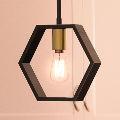 "UQL2772 Industrial Pendant, 9.5""H x 10""W, Natural Black Finish, Venezia Collection"