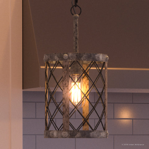 "UQL2801 Industrial Pendant, 16.5""H x 8.75""W, Barn Steel Finish, Thamesdown Collection"