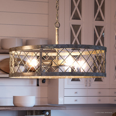 "UQL2802 Industrial Chandelier, 12.5""H x 22.75""W, Barn Steel Finish, Thamesdown Collection"