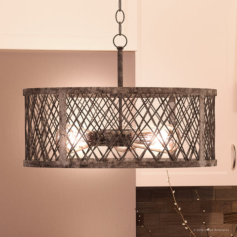 "UQL2803 Industrial Chandelier, 11.25""H x 17.5""W, Barn Steel Finish, Thamesdown Collection"