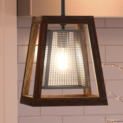 "UQL2842 Farmhouse Pendant, 12.25""H x 9.75""W, Stained Wood and Brushed Nickel Finish, Sefton Collection"
