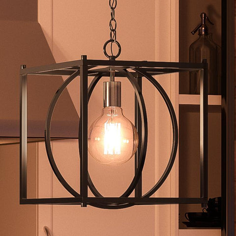 "UQL2860 Transitional Pendant, 16""H x 13.5""W, Natural Black Finish, Trafford Collection"