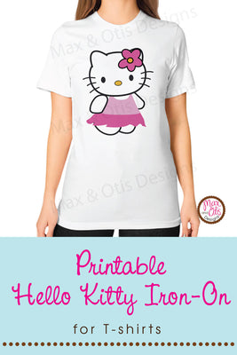 Hello Kitty (Skirt) Printable Sign or Iron-On T-shirt  Transfer