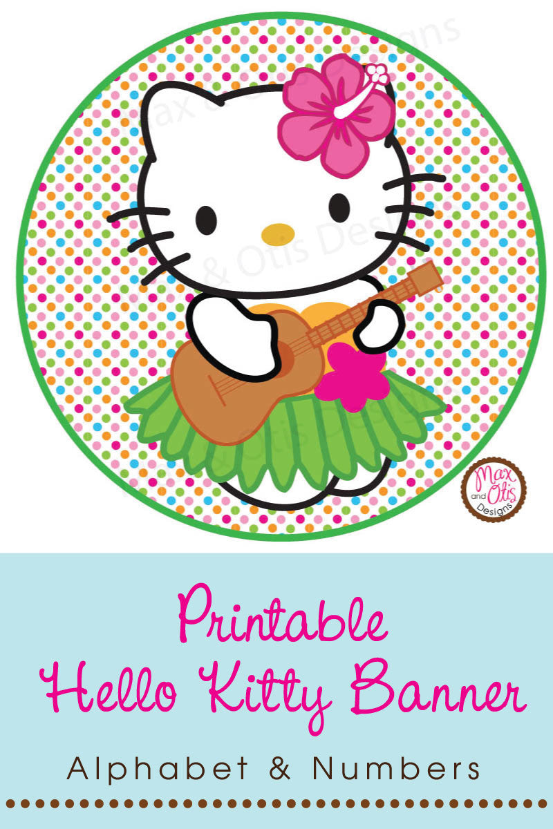 Hello Kitty Printable Party Banner for Luau-Themed Party