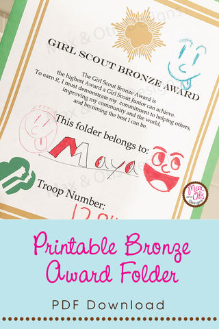Girl Scout Bronze Award Printable Folder Cover