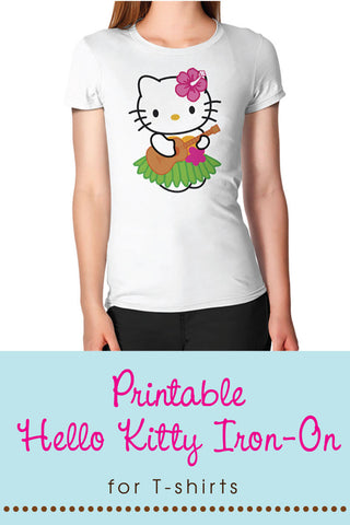 image relating to Printable Tshirt Transfers titled Howdy Kitty Hula/Luau Printable Indicator or Iron-upon T-blouse