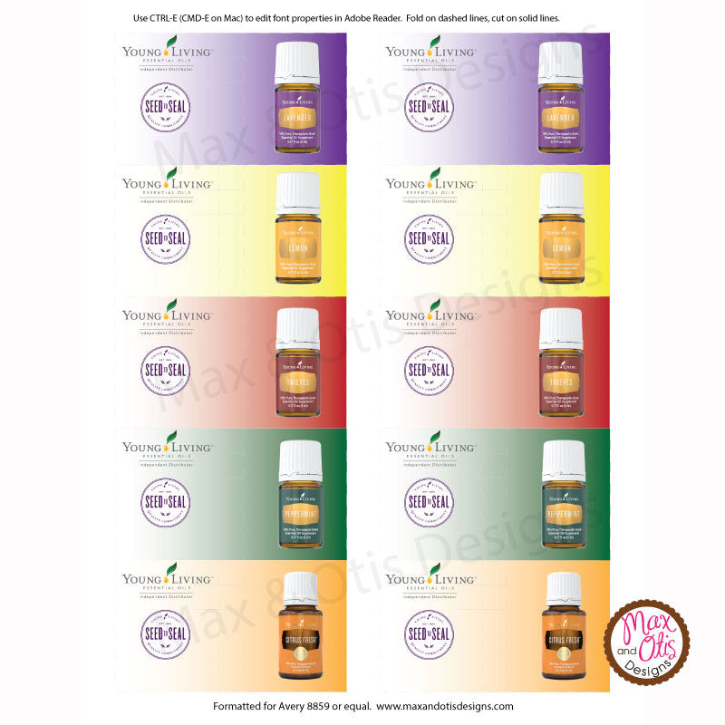 Young Living Business Card Template: Printable Young Living Essential Oil Sample Folders