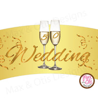 Printable Cupcake Wrappers - 50th Wedding Anniversary (Champagne) - Max & Otis Designs