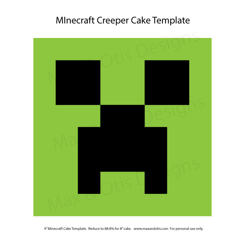 Minecraft Creeper Cake Template Max Amp Otis Designs