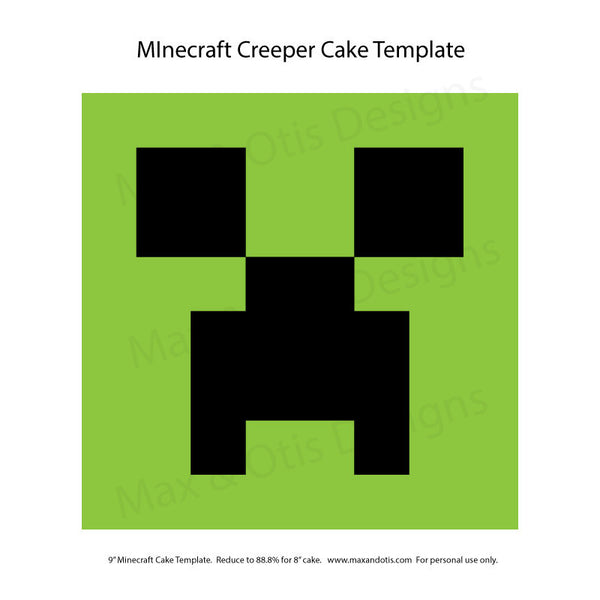 Minecraft Creeper Cake Template - Max & Otis Designs
