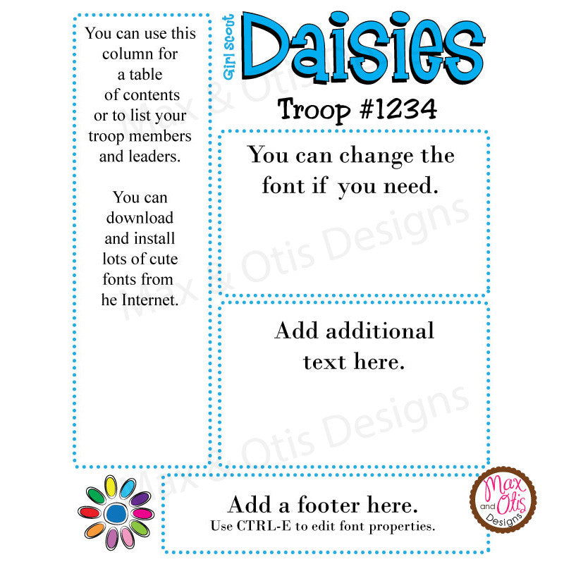 Girl Scout Daisy Printable Newsletter Template - Max & Otis Designs