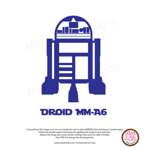 picture relating to R2d2 Printable identified as Printable Iron-Upon Shift - R2D2 Droid (Editable PDF) Max