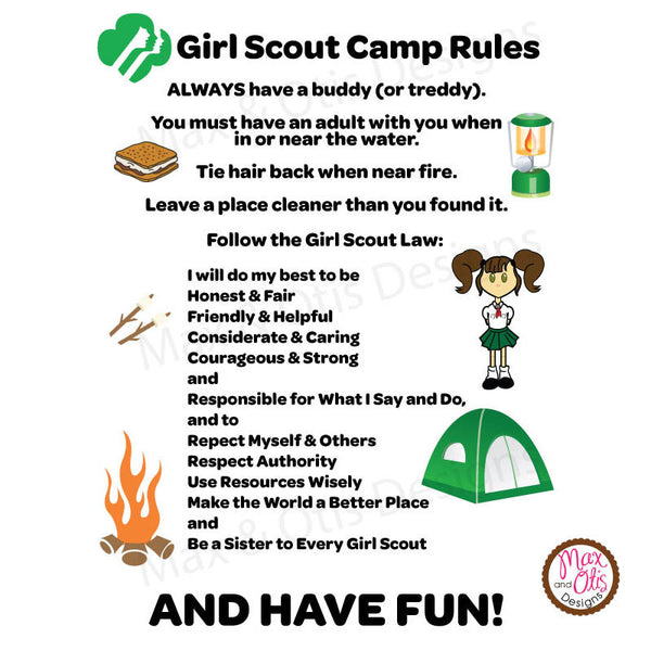 Girl Scout Printable Camp Signs - Max & Otis Designs