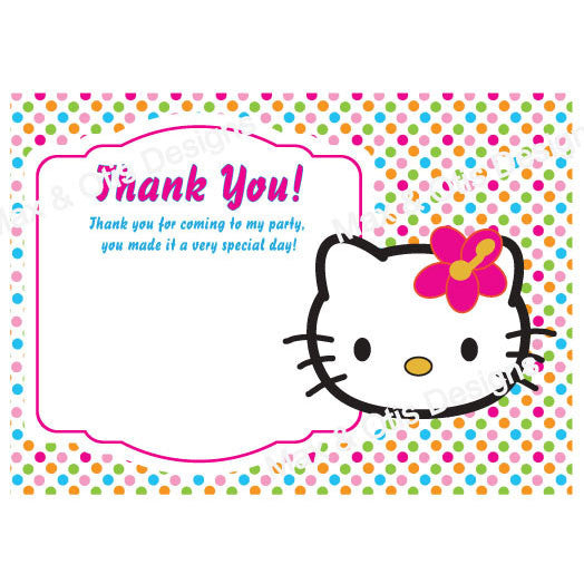 photograph regarding Printable Thank You Cards titled Printable Thank On your own Card - Hello there Kitty Confront (editable PDF)