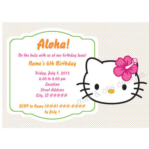 Hello Kitty Face Hibiscus Party - Pastel Dot - Custom Invitation printable - Max & Otis Designs