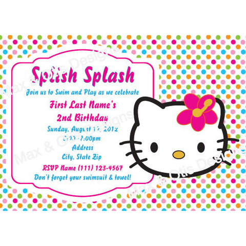 Hello Kitty Face Hibiscus Party -Bright Dot - Custom Invitation printable - Max & Otis Designs