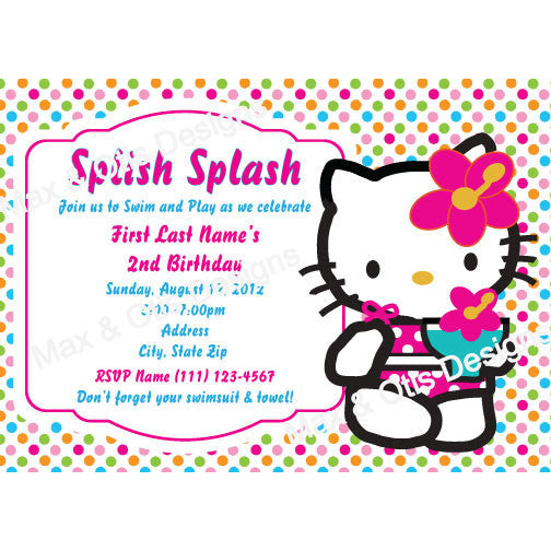 Hello Kitty Pool Party - Bright Dot - Custom Invitation printable - Max & Otis Designs