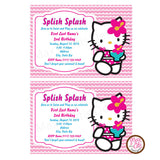 Hello Kitty Pool Party - Pink Stripe - Custom Invitation printable - Max & Otis Designs