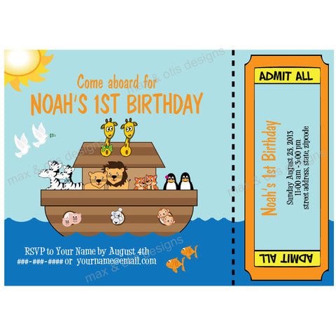 Noah's Ark Party - Custom Invitation Printable - Max & Otis Designs