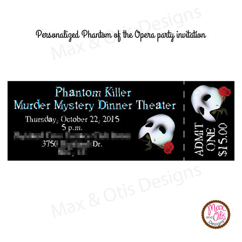 phantom of the opera custom ticket invitation printable max