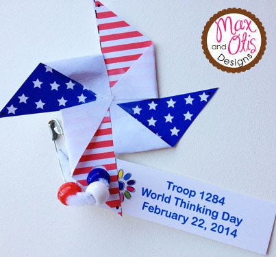 Girl Scout SWAPS - Printable Flag Pinwheel - Max & Otis Designs