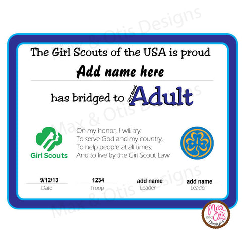 Girl Scout Adult Printable Bridging Certificate (editable PDF)