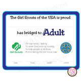 Girl Scout Adult Printable Bridging Certificate (editable PDF) - Max & Otis Designs