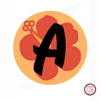 Printable Alphabet Banner - Orange Hibiscus