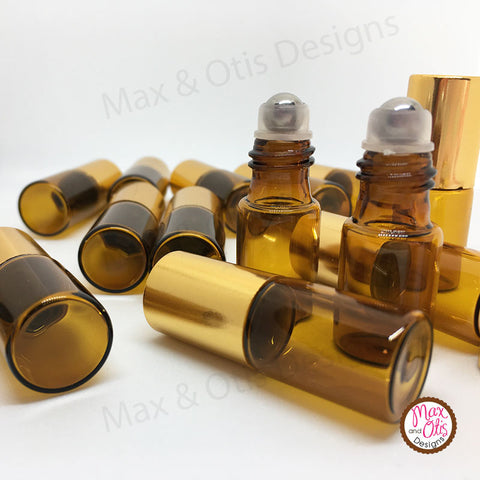 3 ml Amber Glass Roll-on Bottles with Metal Rollers (Bulk) - Max & Otis Designs