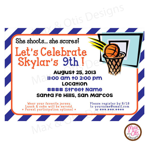 Basketball Party - Custom Invitation Printable - Max & Otis Designs