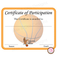 Basketball Certificate of Participation (Editable PDF) - Max & Otis Designs