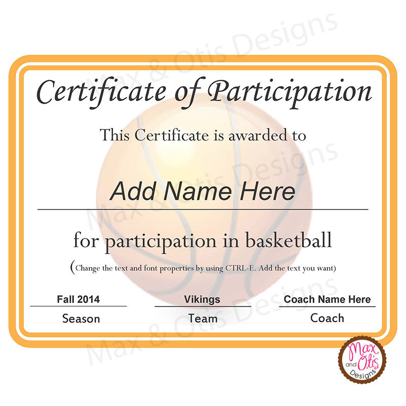 Basketball Certificate Of Participation (Editable PDF)   Max U0026 Otis Designs  Design Of Certificate Of Participation