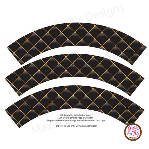 Printable Cupcake Wrappers - Black & Gold Quilted - Max & Otis Designs