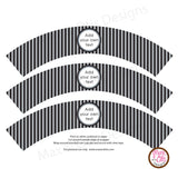 Printable Cupcake Wrappers - Black & Silver Stripe (editable PDF) - Max & Otis Designs