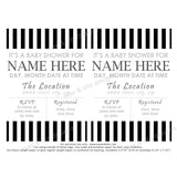 Baby Shower Invitation - Black & White Stripe (editable PDF) - Max & Otis Designs