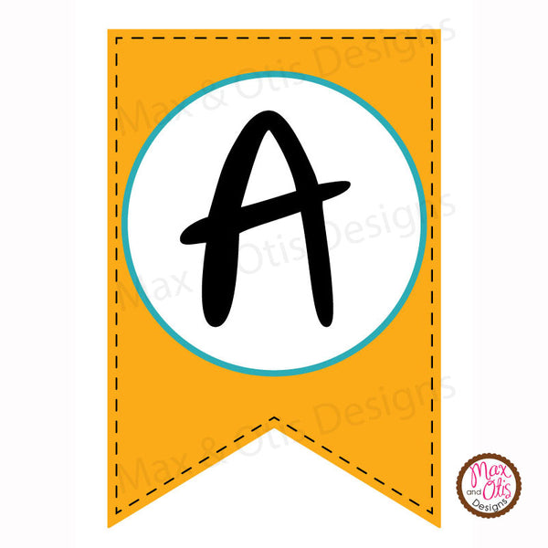Blue & Orange Printable Alphabet Banner - Editable PDF - Max & Otis Designs