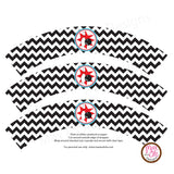 Printable Cupcake Wrappers - Bowling Party (Black & White) - Max & Otis Designs