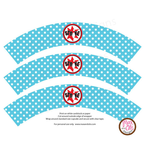 Printable Cupcake Wrappers - Bowling Party (Blue & White) - Max & Otis Designs