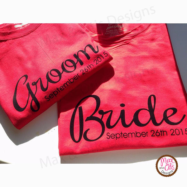 Printable Iron-On Transfer - Bride & Groom Wedding Date (Editable PDF) - Max & Otis Designs