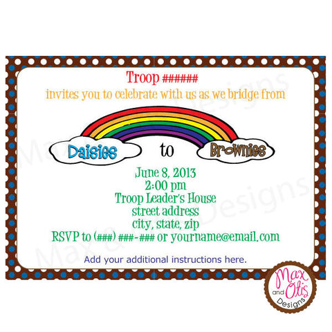 Girl Scout Brownie Bridging Invitation (editable PDF) - Max & Otis Designs