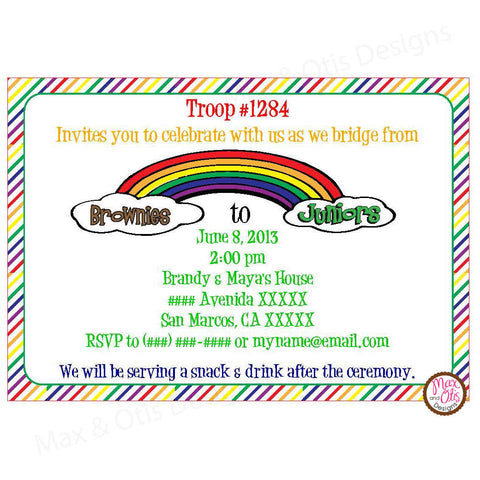 Girl Scout Junior Bridging Invitation (editable PDF) - Max & Otis Designs