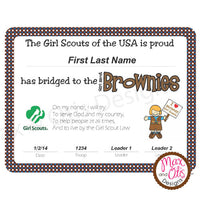 Girl Scout Brownie Printable Bridging Certificate (editable PDF) - Max & Otis Designs
