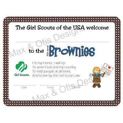 Girl Scout Brownie Printable Investiture Certificate (editable PDF) - Max & Otis Designs