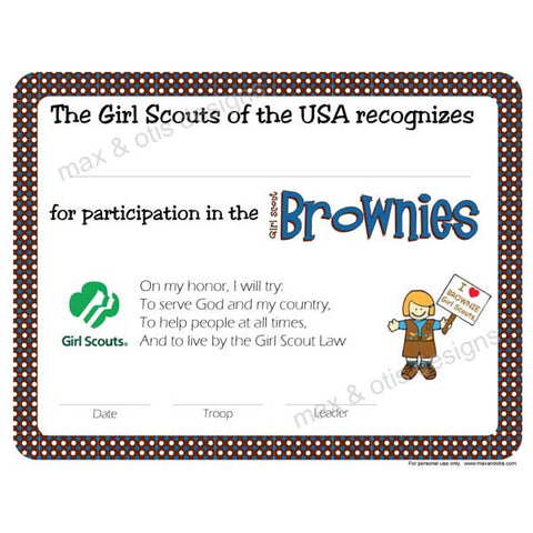 Girl Scout Brownie Printable Participation Certificate (editable PDF) - Max & Otis Designs