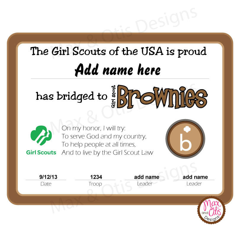 Girl Scout Brownie Printable Bridging Certificate (editable PDF)